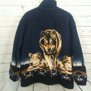 Oversized fleece wolf graphic jacket size L